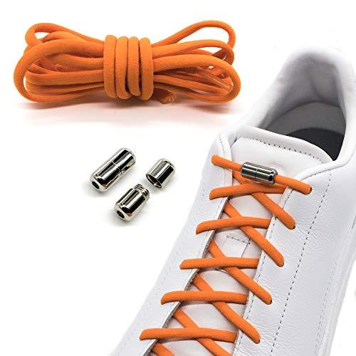 Run out sports Elastische Schnürsenkel mit Metallverschluss - schleifenlos - elastisch ohne binden - Schnellverschluss mit Metallkapsel (Orange)