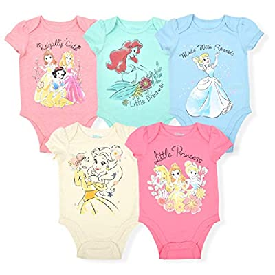 Disney Princess Girl's 5-Piece Short Sleeve Baby Bodysuit Onesie Multi-Colored Set, Size 18-24 Months