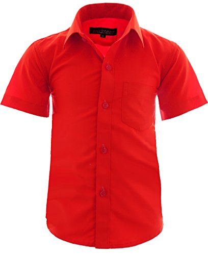 GILLSONZ A0 vDa New Kinder Party Hemd Freizeit Hemd bügelleicht Kurz ARM Gr.86-158 (122-128, Rot)