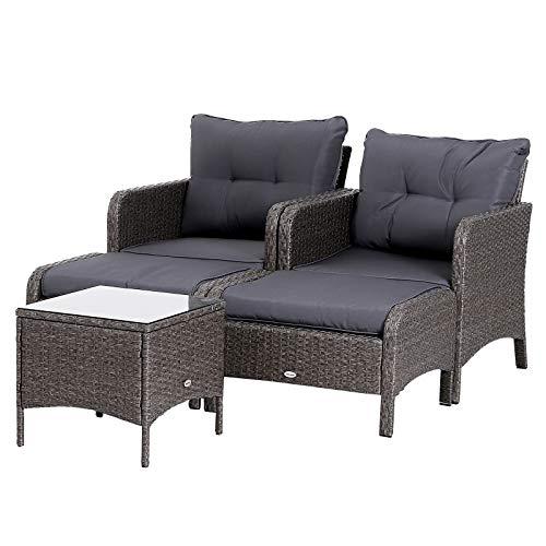 Lot de 2 fauteuils de Jardin Grand Confort Repose-Pied Table Basse résine tressée Imitation rotin Coussins Gris