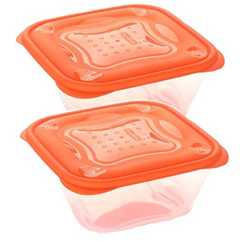 Set de 2 Coupelles hermeticos carrés avec couvercle orange de 0,5 litres – BPA Free.
