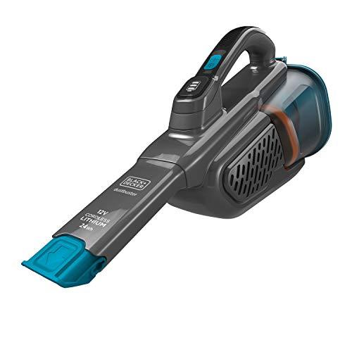 Black+Decker Lithium Dustbuster BHHV320J mit Cyclonic Action – 12V, 25AW, Akku Handstaubsauger mit ausziehbarer Fugendüse & Ladekabel – Beutelloser, kabelloser Staubsauger – Titanium/Blau