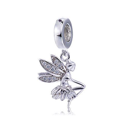 EVESCITY - Cuenta de plata de ley 925 con detalles de cristal...