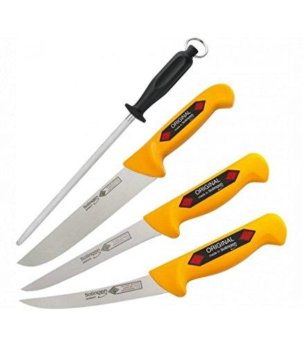 Solingen Eikaso Premium Profi Messerset inkl. Wetzstahl - 4-teilig Schlachtmesser mit rutschfestem Griff für Profi Fleischer und Hobby Koch - Metzgermesser mit exzellenter Schärfe - Fleischmesserset