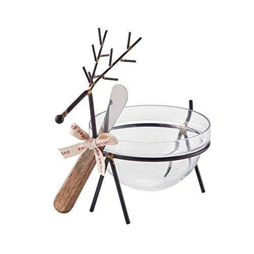 Mud Pie Reindeer Glass Dip Bowl Set of 3