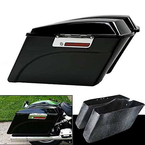 XMT-MOTO Hard Saddlebags Saddle bags W/Lid Latch Key for Harley Davidson 1994-2013 Touring models road glide, road king, ultra, street glide, electra glide and 1984-2017 Softail models,Gloss Black