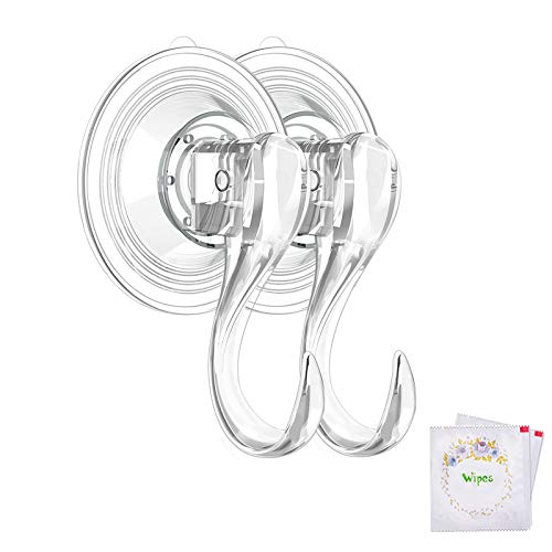 VISV Suction Cup Hooks Small Clear Reusable Heavy Duty Vacuum Suction Cup Hooks with Cleaning Cloth Strong Window Glass Kitchen Bathroom Hooks for Towel Robe Utensils Christmas Wreath - 2 Packs