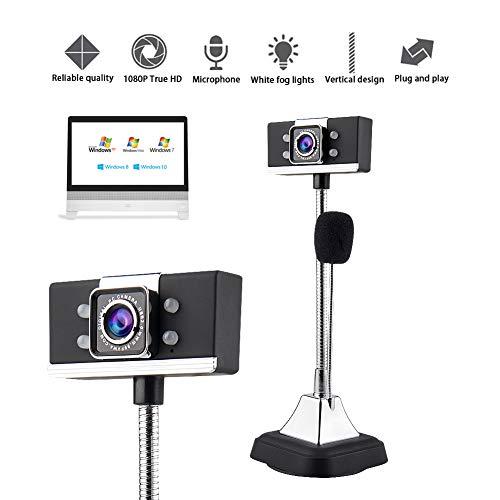 AZCSPFALB 1080P Full HD Cámara Webcam con Micrófono Digital, 4 Faros Antiniebla Blancos, USB Plug and Play, para Fotos De Retratos, Videoconferencias, Videollamadas, Grabación En HD, Etc.