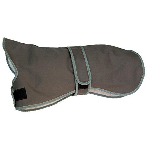 Amathings – Abrigo para perros térmico e impermeable de borreguito con cuello y orificio para la correa para perros medianos (whippet) con una longitud de hasta 50cm de espalda