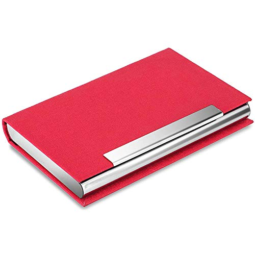MaxGear Business Card Holder Leather Business Card Case Name Card Holder Business Card Wallet Business Card Carrier Slim Metal Pocket Card Holder - Red