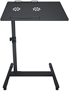 Standing Lifting Mobile Laptop Table Adjustable Height Tiltable,Side Table Presentation Cart Mobile Station Sofa Bedside Table Lazy Table with Casters Rotate Easy to Assemble -A-56x35x(59-93) cm