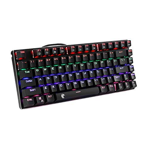 E元素メカニカルゲーミングキーボード レインボーLEDバックライト付き USB有線青軸81キーアンチゴーストキ...