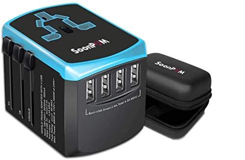 Reiseadapter Universal International Power Adapter Schnell USB-Ladegerät mit 4 USB-Ports Alle in Einem weltweiten Steckdose Konverter Wandstecker Adapter für Handy Laptop MAC etc(Schwarz + Blau)