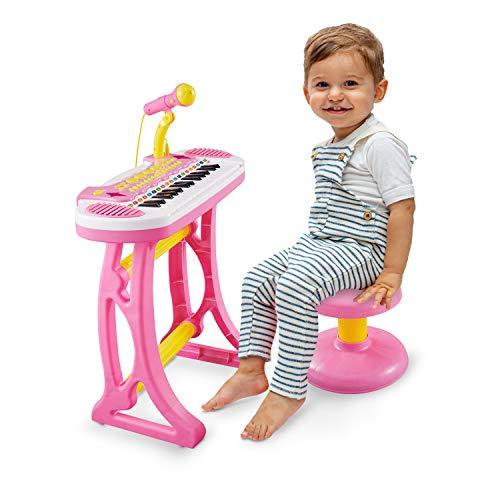 Reditmo Klavier Kinder 31 Tasten, Klavier Spielzeug Piano Spielzeug Keyboard Kinder Elektronische Musikinstrument mit Mikrofon und Hocker, für Baby Kleinkinder Mädchen ab 18M+ 2-6 Jahre, Pink