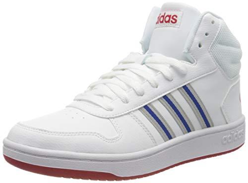 adidas Mens Hoops 2.0 Mid Sneaker, Footwear White/Grey/Team Royal Blue, 46 EU