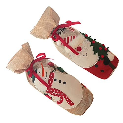 Homoyoyo 12 Juegos de Bolsas de Botellas de Vino de Navidad Santa Claus Muñeco de Nieve Fundas de Botellas de Vino de Arpillera Reutilizable Fundas de Botellas de Vino Bolsas de Regalo