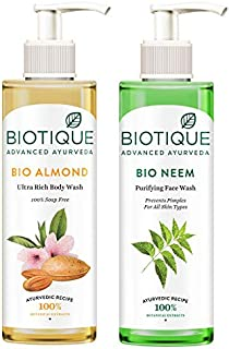 Biotique Bio Neem Purifying Face Wash, 200 ml & Biotique Almond Oil Ultra Rich Body Wash, Botanical Extracts, 200 ml