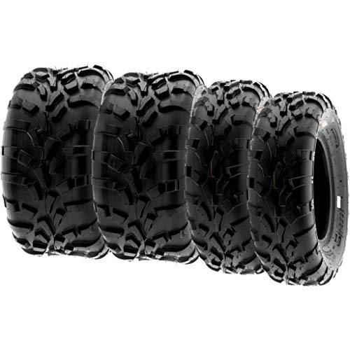 SunF A010 25x8-12 & 25x10-12 Quad ATV UTV Reifen Geländereifen mit Straßenzulassung 6PR TL 70J E Prüfzeichen direktionale und knorrige Laufflächen, Satz von 4 Stück