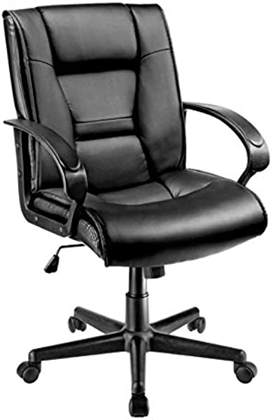 Brenton Studio Ruzzi Vinyl Mid Back Chair Black