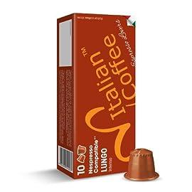 Nespresso Compatible Capsules Italian Coffee Espresso pods (Lungo, 100 Pods)