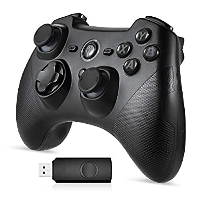 EasySMX Wireless Game Joystick Controller, 2.4G Wireless Gamepad Joystick PC, Dual Vibration, 8 Hours of Playing for PC/Android Phones, Tablets, TV Box (Black and Gray)