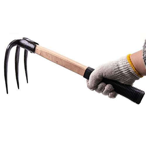 CLAIRLA Hand Mini Garden Hoes Dual Headed Weeding Tool - Carbon Steel Hoe/Tine Cultivator 3 Prongs Combo Garden Tools with Wood Handle (3 Prongs)