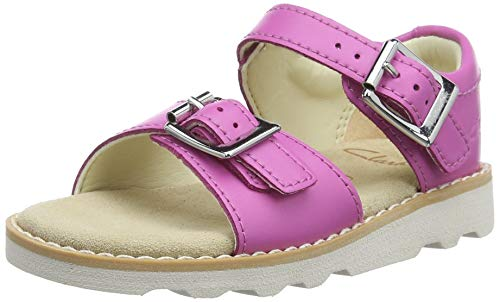 Clarks Mädchen Crown Bloom T Riemchensandalen, Pink (Hot Pink Leather Hot Pink Leather), 23 EU