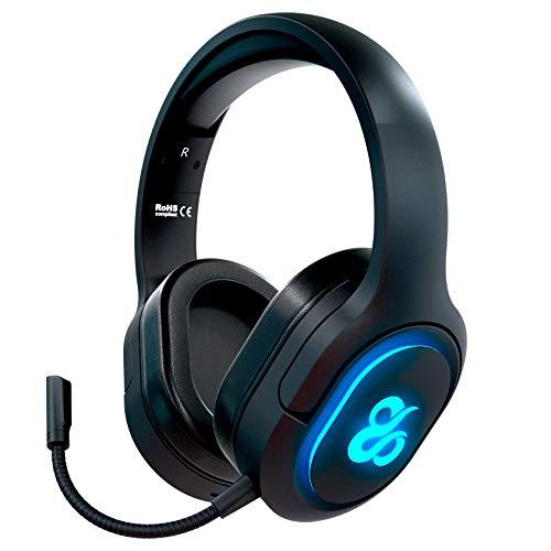 Newskill Scylla - Auriculares Gaming Inalámbricos con Micrófono totalmente Removible compatibles con PC, PS4, Xbox One y Smartphone (efectos de iluminación RGB)