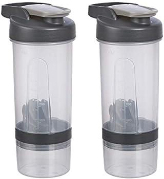 2-Pack Amazon Basics Shaker Bottle with Mixer Ball, 20 Ounce