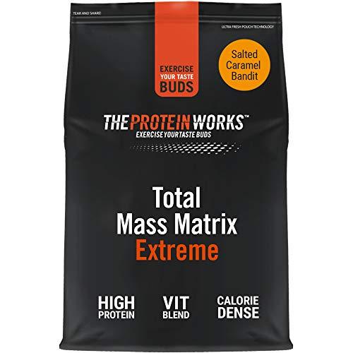 THE PROTEIN WORKS Total Mass Matrix Extreme Protéine en Poudre | Gain de Masse | Gain de Poids Hypercalorique | Avec Glutamine, Créatine et Vitamines | Caramel Salé | 2.12kg