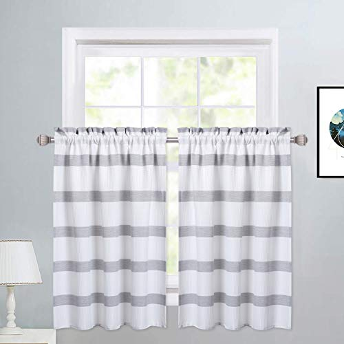 """Haperlare Grey Tier Curtains for Kitchen, Waffle Weave Textured Farmhouse Half Window Cafe Curtains Kitchen Curtains, Yarn Dyed Striped Pattern Bathroom Window Curtain, 30"""" W x 30"""" L, Set of 2"""