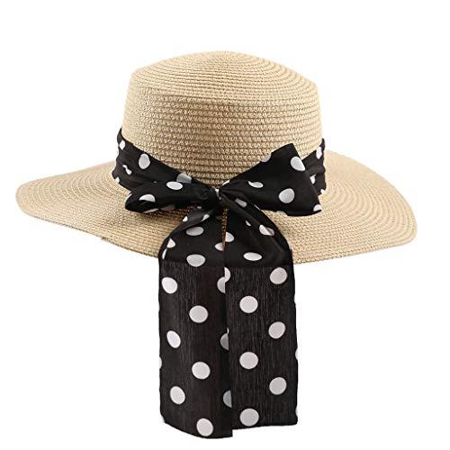 RISTHY Sombrero de Paja Mujer Vacaciones Sombrero de Sol Alta Ancha Panamá...