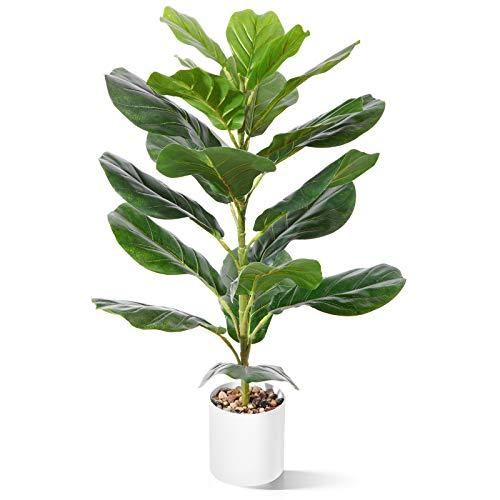CROSOFMI Künstliche Pflanze im Topf Ficus Lyrata 75 cm Kunstpflanze Plastik Zimmerpflanze Groß Wohnzimmer Balkon Schlafzimmer Grün Deko(1 Pack)