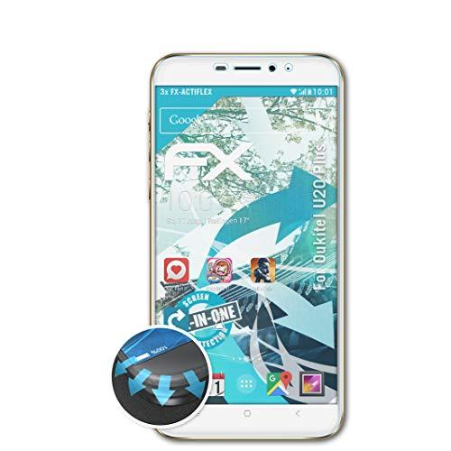 atFolix Schutzfolie kompatibel mit Oukitel U20 Plus Folie, ultraklare & Flexible FX Bildschirmschutzfolie (3X)