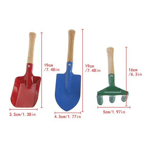 Lot de 3 mini outils de jardin pour enfant avec râteau et pelle