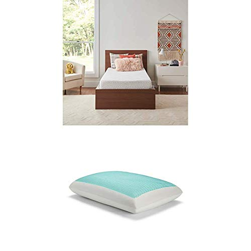 Sealy 8-Inch Twin XL Memory Foam Bed in a Box with CopperChill + Essentials Memory Foam Gel Cooling Pillow Set