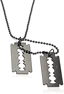 Prosperveil Metallic Dual Blades Pendant Necklace Man Long Sweater Chain Military Style
