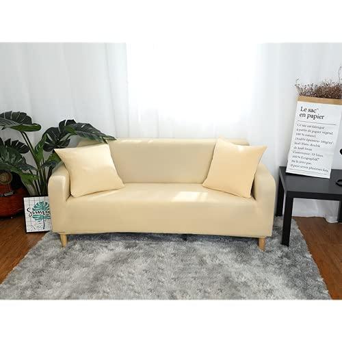 Housse de canapé élastique 1 pièce,Housses de canapé Extensibles,antidérapantehousse de canapé, Housse de Fauteuil, Protecteur de Meuble(Beige,90-140cm)