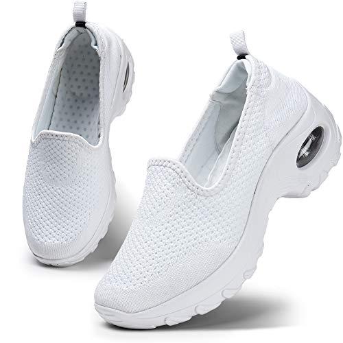 HKR Damen Sneakers Mesh Sportschuhe Laufschuhe Bequem Turnschuhe Air Leichte Slip On Outdoor Walking Schuhe Weiß 39 EU