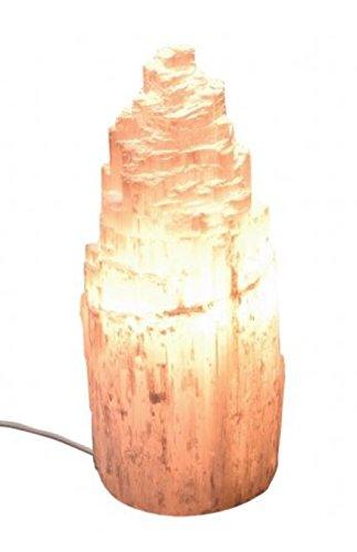 Snow Mountain - Lámpara de cristal de selenita (15 cm, 518 g), color blanco