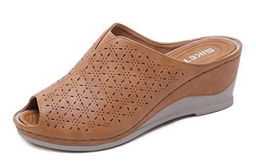 Zuecos Cuero para Mujer Sandalias de Cuña con Punta Abierta Zapatos de Plataforma Verano 38 EU