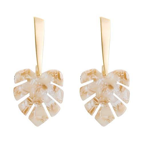KDXBCAYKI Oorbellen, bladoorringen, echt goud, bohemian voor dames, pompon, mooie oorbellen Wit