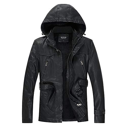 Warm Jacket Trench Coats Blazer Outerwear Autumn and winter men's leather jacket with hood-black_L
