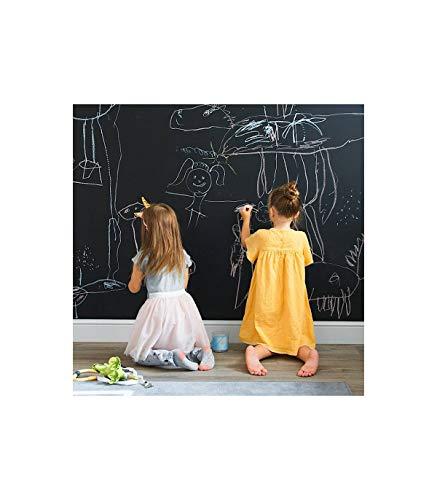 Pizarra adhesiva negra profesional para tizas y rotuladores efecto tiza 100 X 122 cm . Rollo pizarra autoadhesiva para pared. Vinilo lámina ideal para colegios, oficinas, casa, niños, cocina.