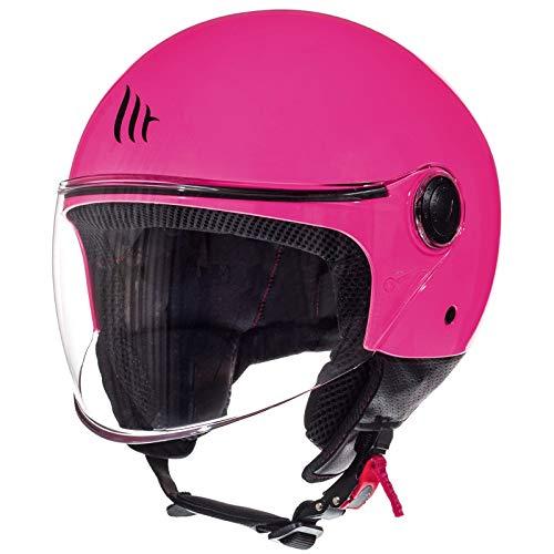 MT HELMETS Street Solid Casco de Moto, Accesorio Unisex para Adultos, Rosa Gloss Pink, XS