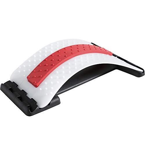 Rückenstrecker Rückendehner Back Stretcher, für Unter und Ober Lendenwirbelsäule Rückenschmerzen Linderung Wirbelsäulenstrecker Massagegerät Fitness Stretch (38.5x25.5x11cm, Rosa + weiß)