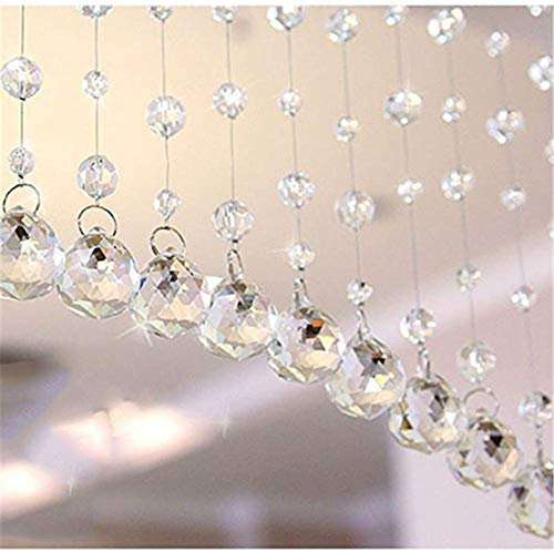 HY Clear Glass Crystal Beaded Curtain Door String Curtain Wall Panel Fringe Transparent 1Mx1M with Handle Track (100cm Width 1meter Length 20pcs)