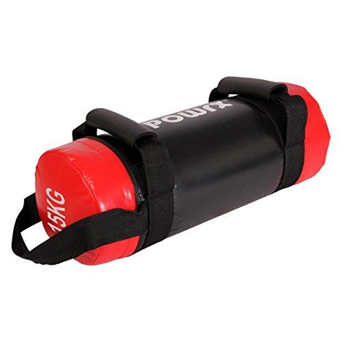 Power Bag 5kg, 10kg, 15kg, 20kg, 25kg, 30kg Sandbag Functional Training (15kg Black/Red)