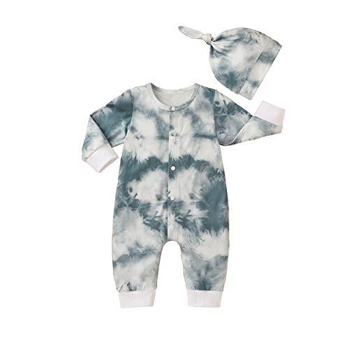 T TALENTBABY - Body de manga larga para recién nacido con flores + juego de ropa con lazo Color gris. 6-12 Meses