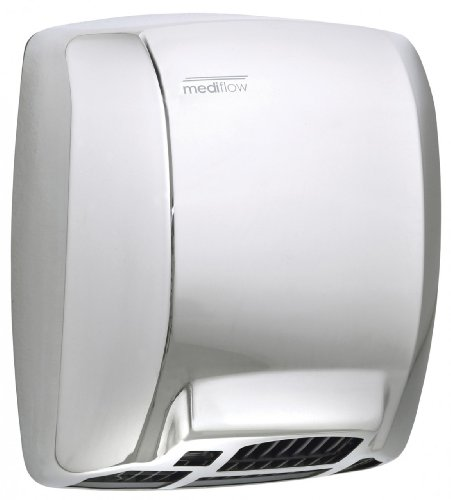 Saniflow M03AC Mediflow Basic Automatic Hand Dryer, Steel One-piece Cover Bright Finish, Maximum Robustness and Vandal-proof, Suitable for Very High Traffic Facilities